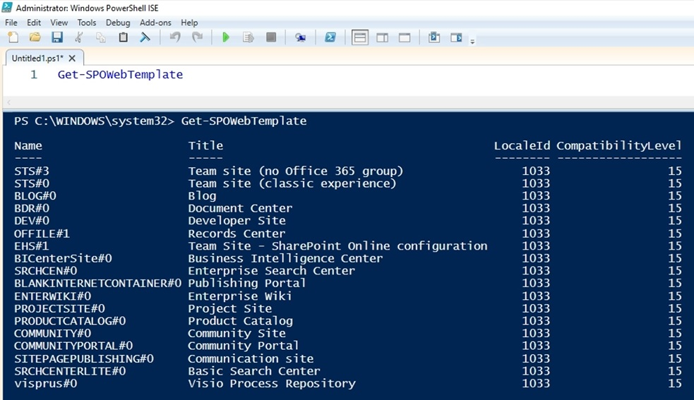 Default site templates id sharepoint online