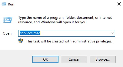 how to open services.msc from windows server 2019