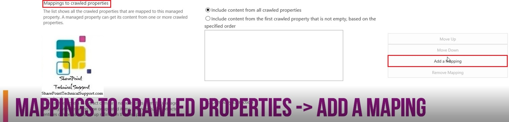 Add a mapping in sharepoint search 2019 mappings to crawled properties