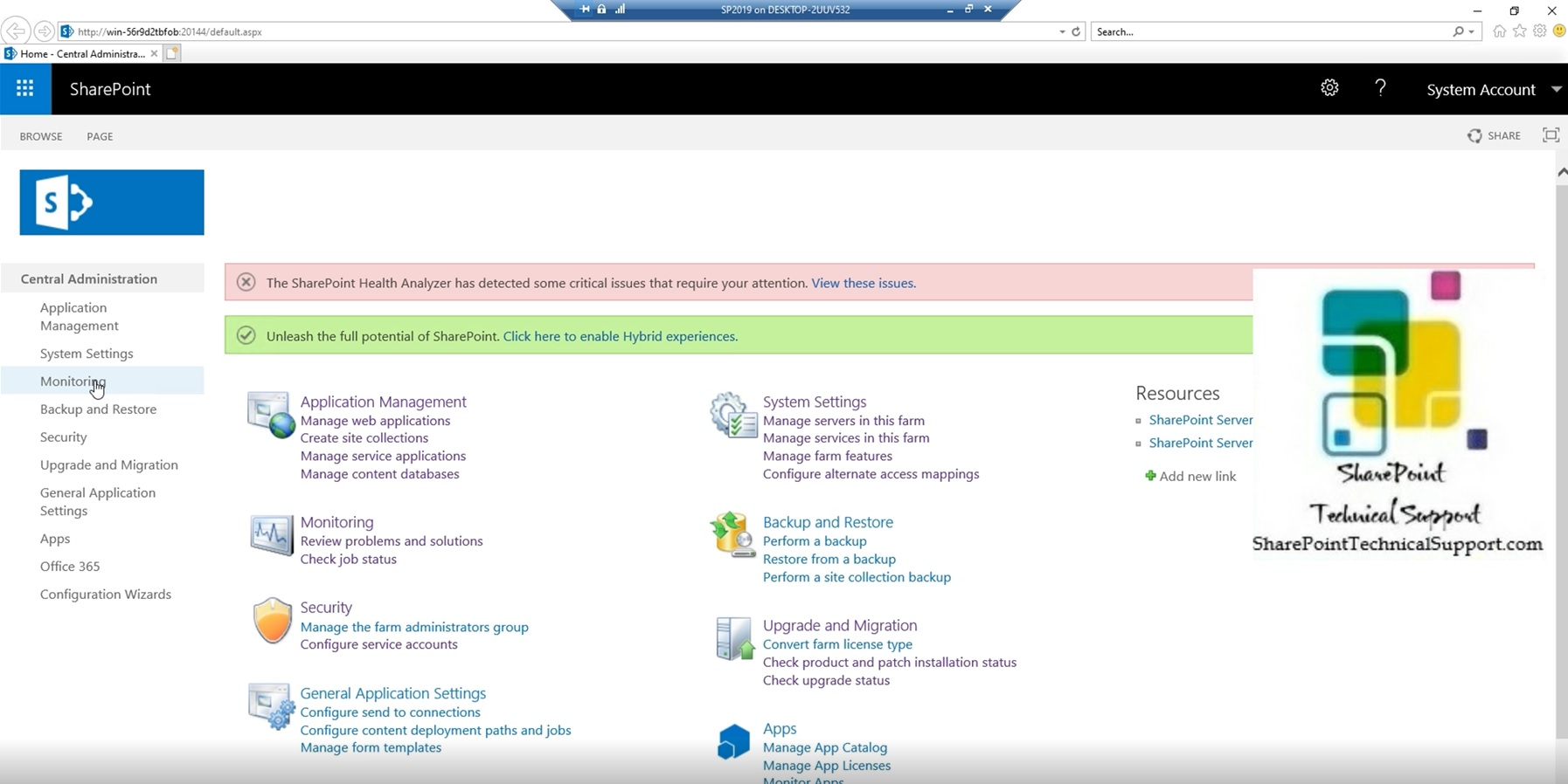 Central admin in sharepoint server 2019