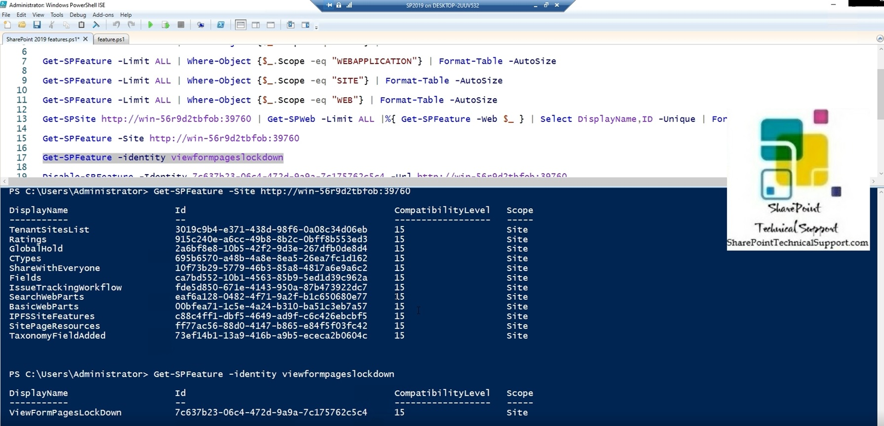 SharePoint 2019 feature id of one feature