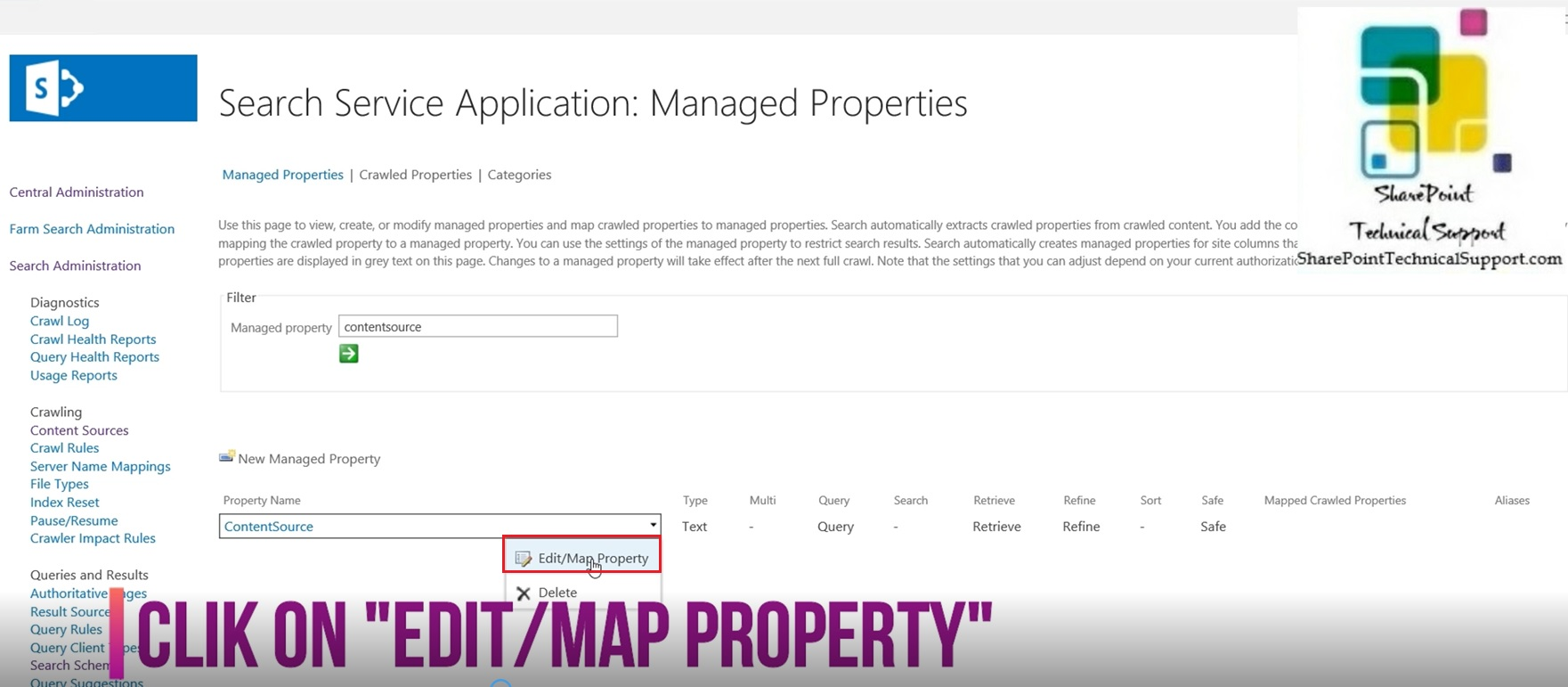 edit map property in sharepoint 2019 search managed property