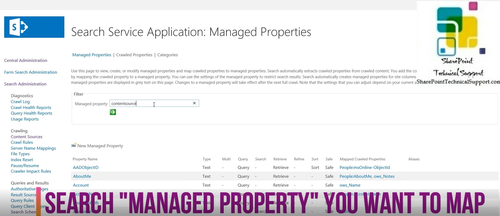managed property in sharepoint 2019 search