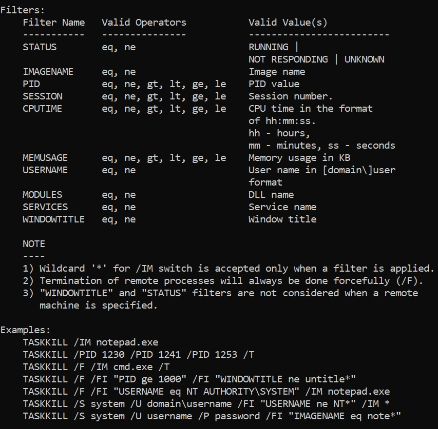 kill process id using taskkill windows command line
