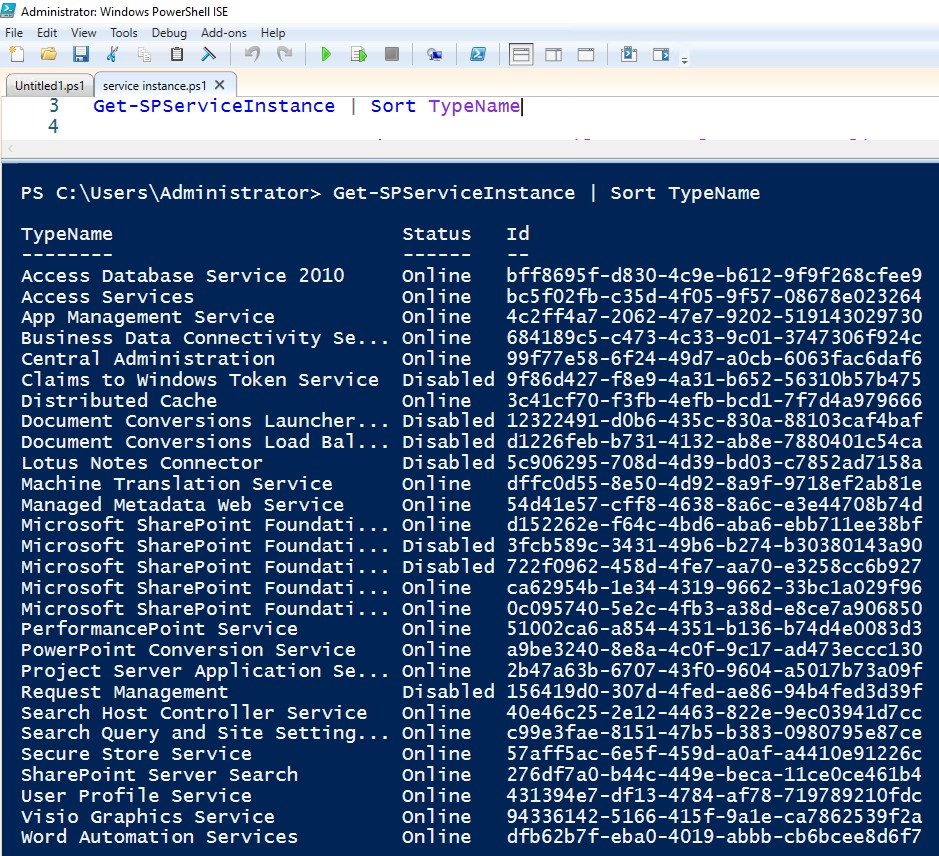 sharepoint service instance id
