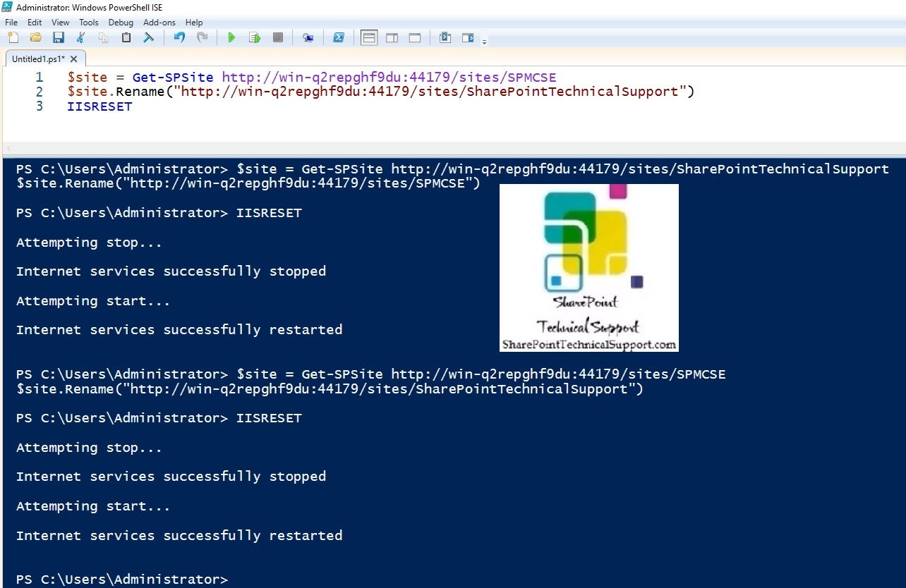 Change sharepoint site collection url rename subsite url