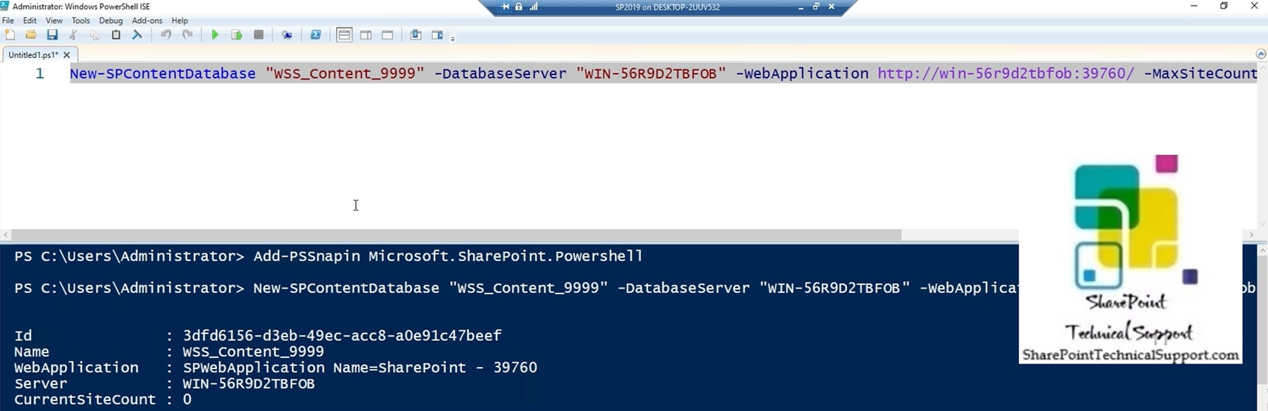 adding content database to web application using powershell