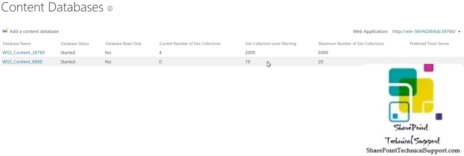 content database added to web application