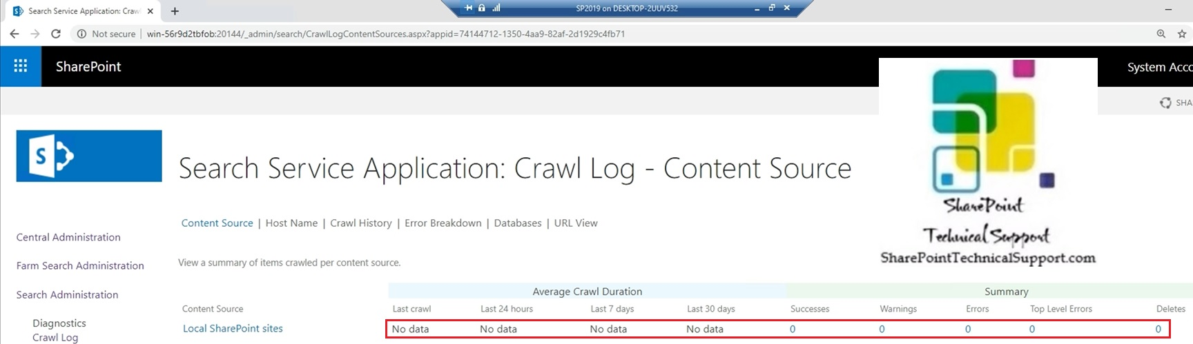 crawl log in sharepoint server 2019