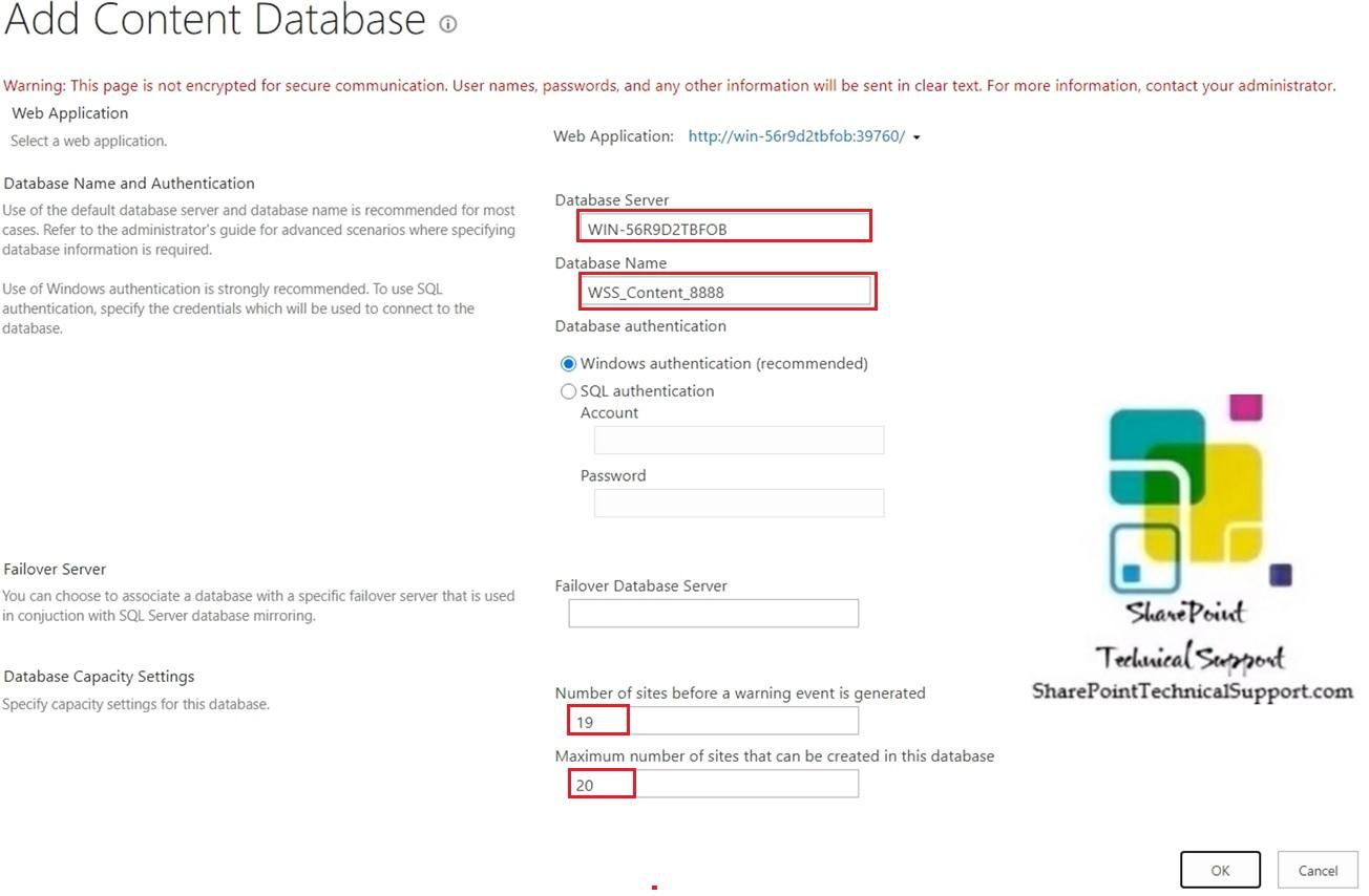 database capacity settings database name