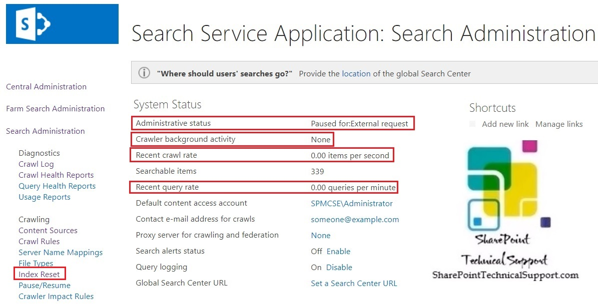 index reset tasak search administration sharepoint 2019