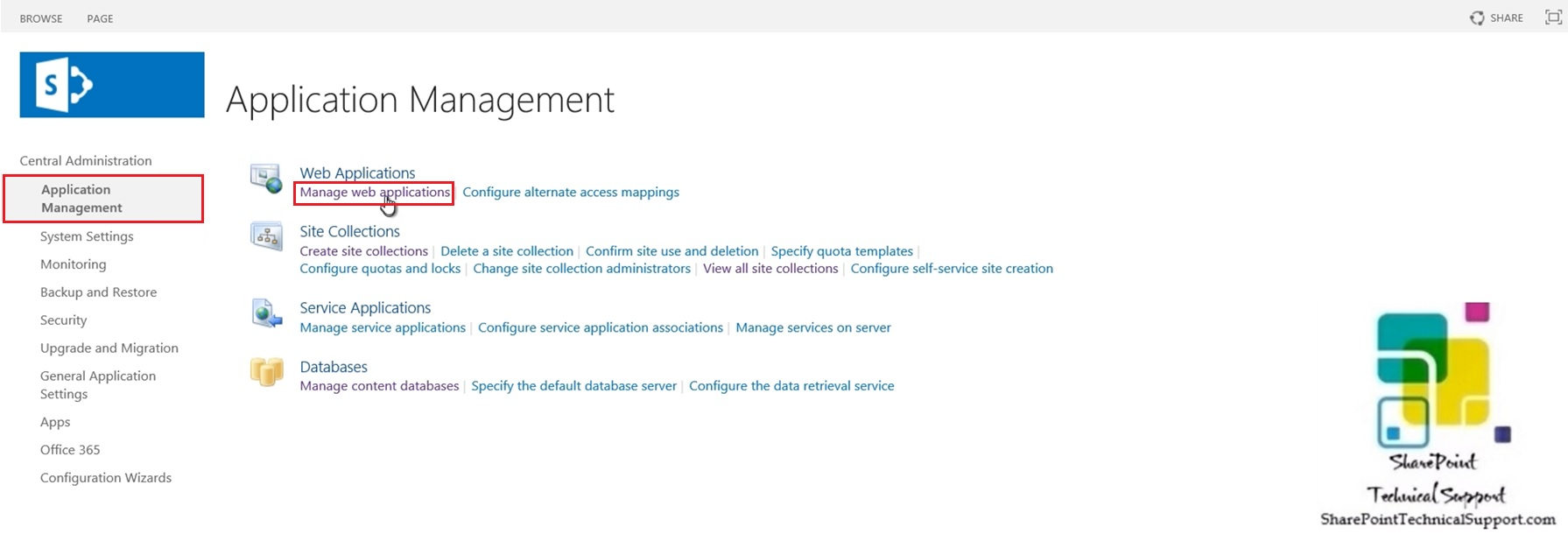 manage web application in sharepoint 2019