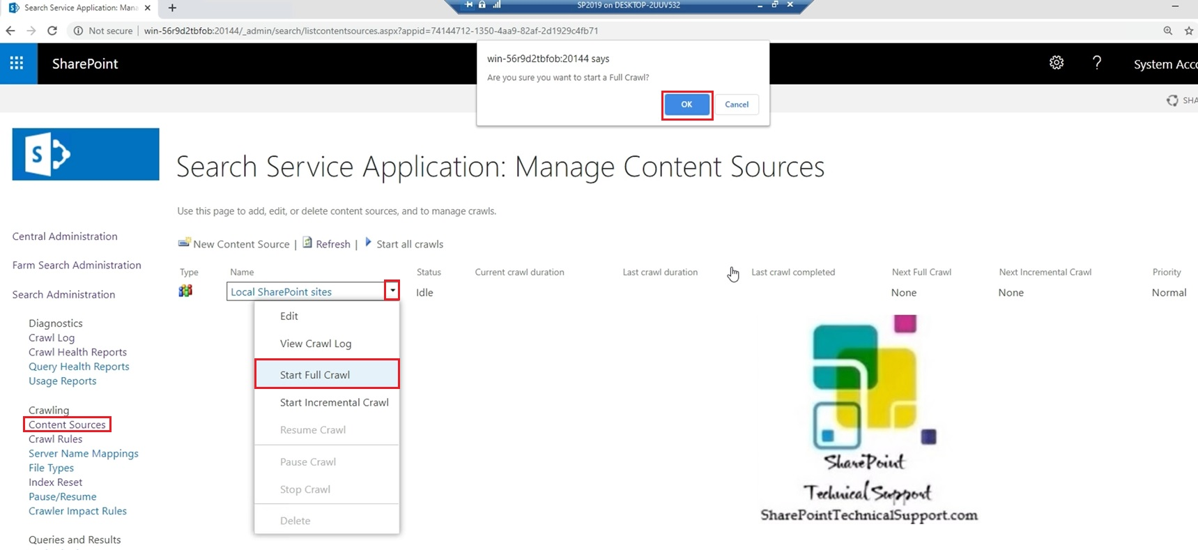 start full crawl content sources search in sharepoint server 2019