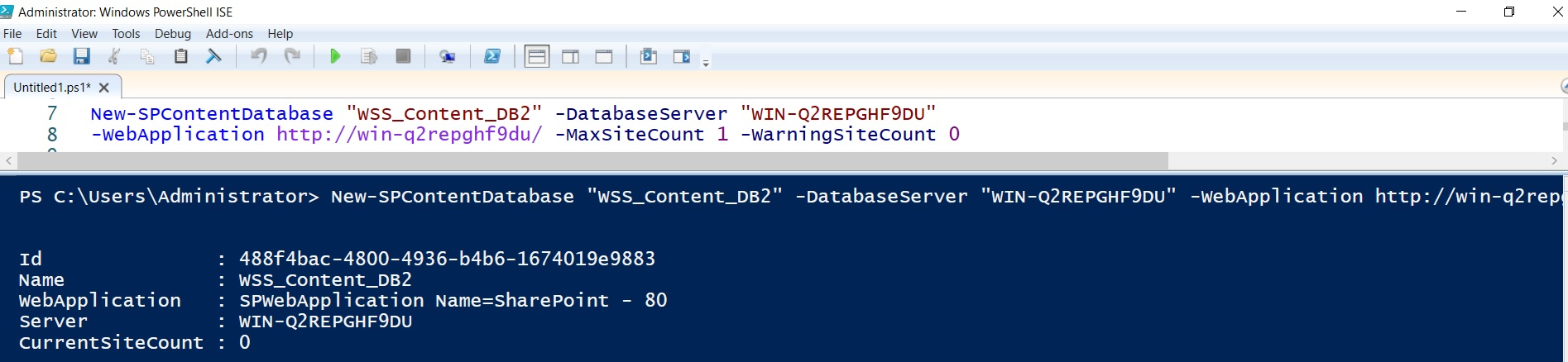Create new content database in sharepoint using powershell