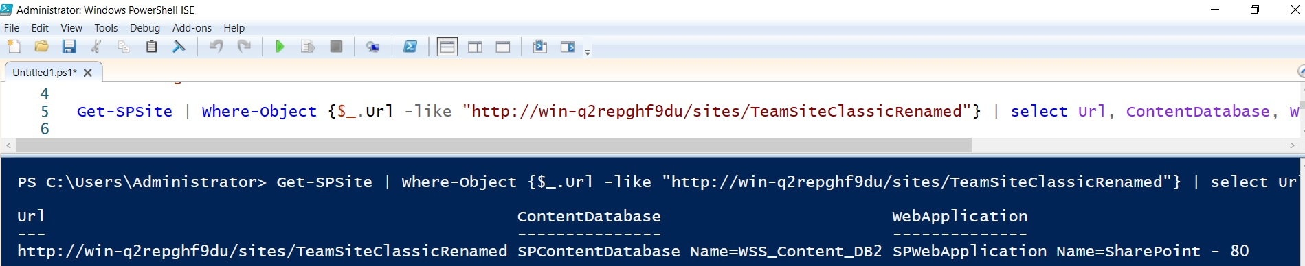 check content database of site collection