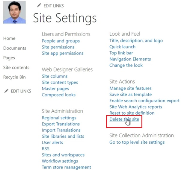 Delete SharePoint subsite from site settings