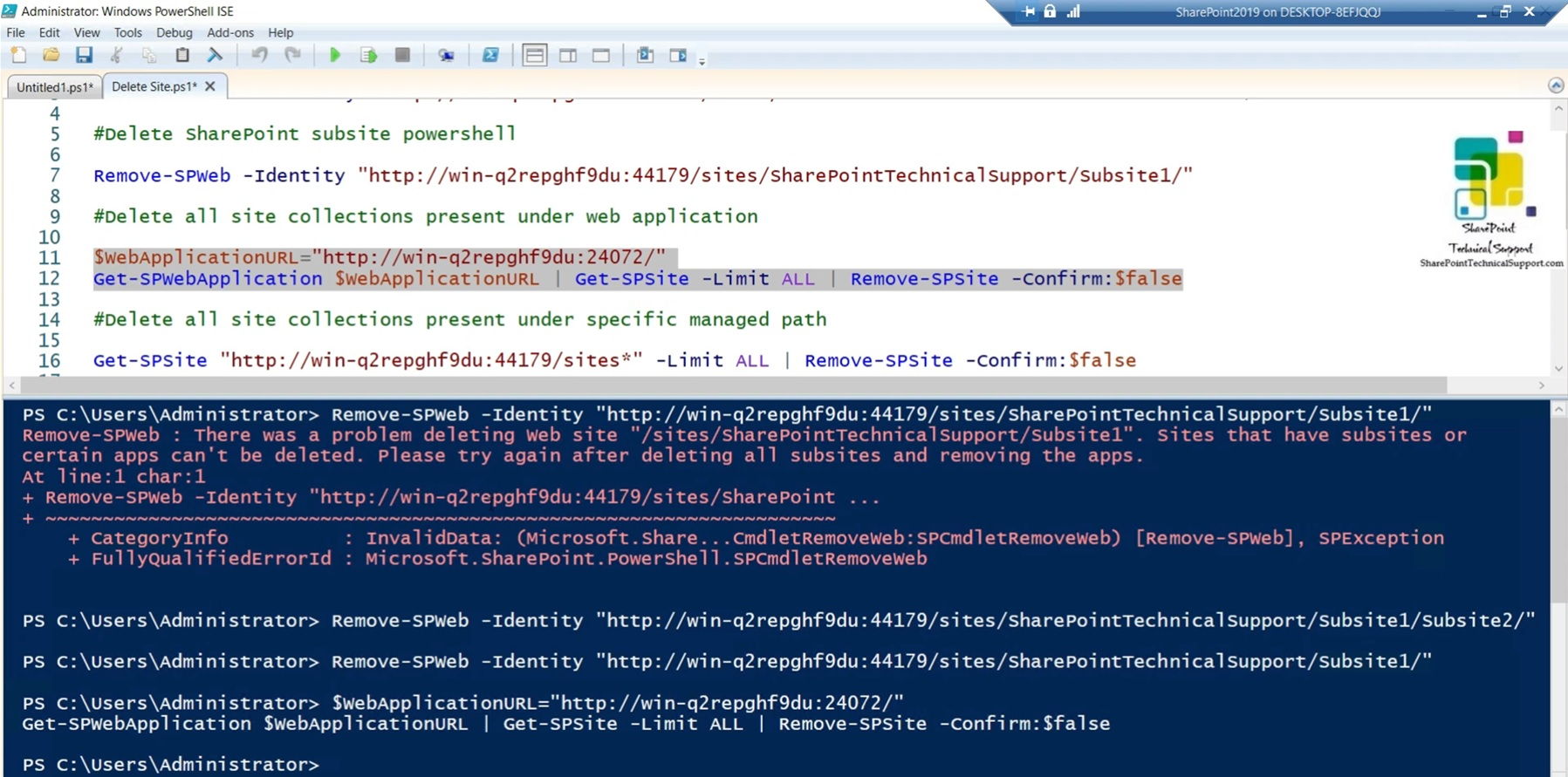 Delete all site collections present under web application
