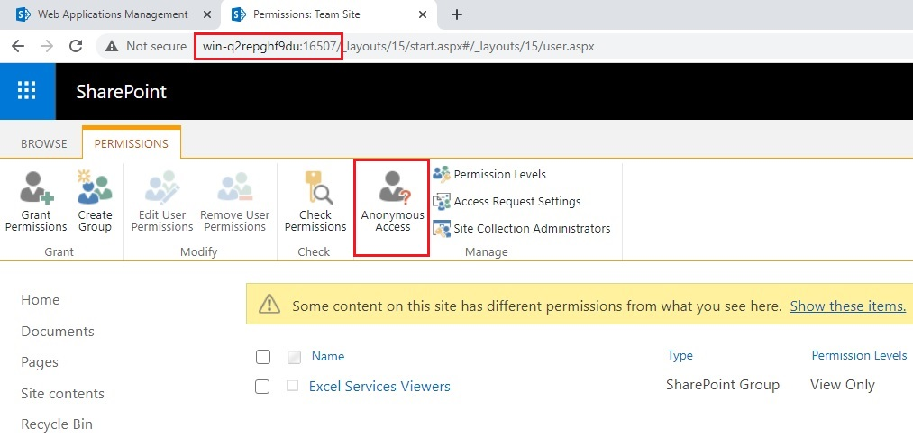 Anonymous access sharepoint site permissions