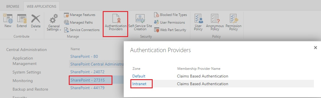 Authentication providers sharepoint web application