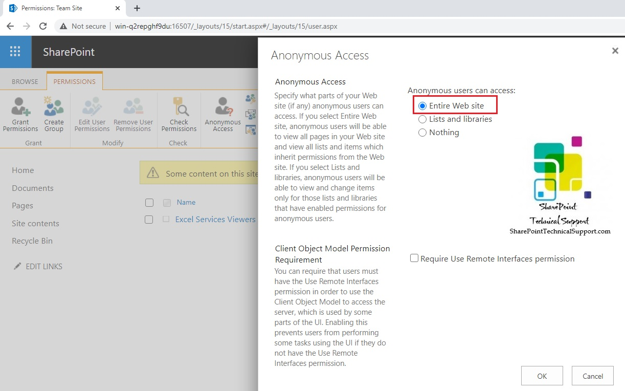 Anonymous access entire web site in sharepoint
