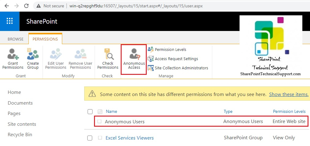 Anonymous users sharepoint group