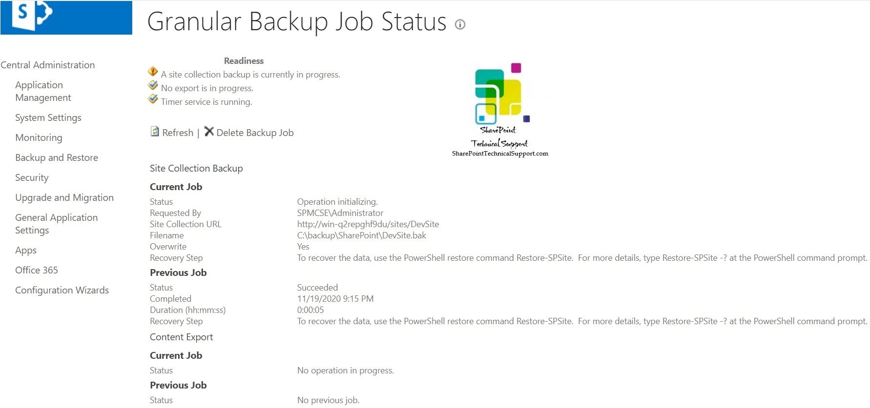 Granular Backup Job Status